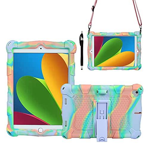 ZHANGHUI Funda Protectora para Tablet PC Caja de la Tableta para Xiaomi 1/2/3, Cubierta Protectora a Prueba de Golpes de Silicona Suave y Ligera con Correa de asador y Bandolera (Color : Purple Blue)
