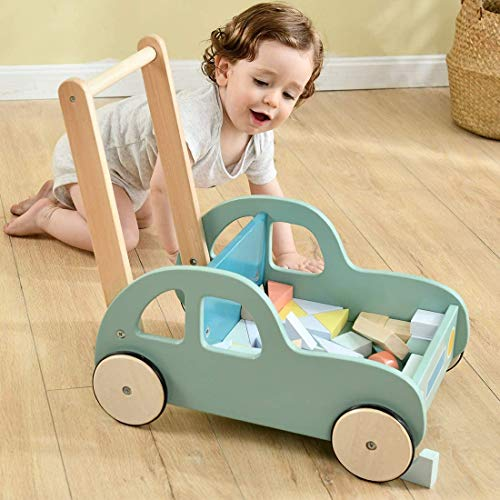 Labebe - Wooden Baby Walker with Blocks, Push Along Baby Toy, Pull Along Wagon, 2-in-1 Baby Walker for Girl&boy 6 Months, Toddler Activity Wooden Walker, Infant Push Pram, Kid First Step Walker