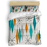 Duvet Cover Queen Size - Mid-Century Modern Diamond Pattern Comforter Quilt Cover with Zipper Closure, Ties - Modern 4 Pcs Bedding Set for Men/Women/Kids