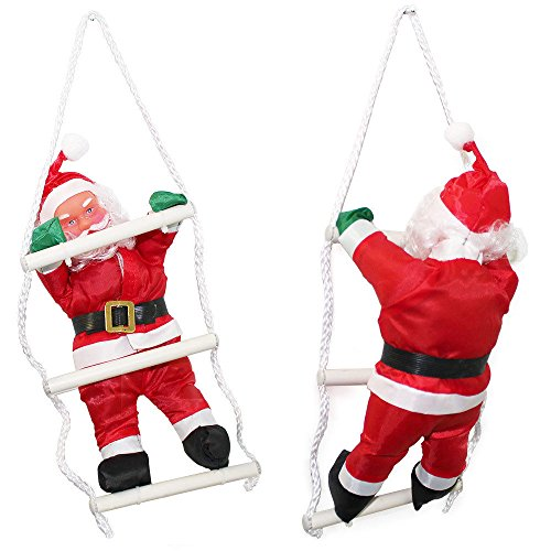 LD kerstdecoratie kerstman op ladder 32 cm kerstdecoratie kerstmis figuur Sinterklaas
