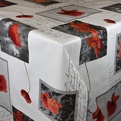 KEVKUS Wachstuch Tischdecke Meterware C141272 Mohnblumen Blüten Mohn auf weiß Größe wählbar in eckig rund oval (Rand: Paspel (mit Kunststoffband), 120 x 180 cm eckig)