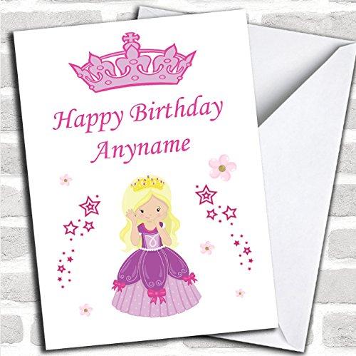 Blonde Prinses Bloemen Sterren Kinderen Verjaardag Aangepaste Groeten Kaart- Verjaardagskaarten/Kinderen Verjaardagskaarten