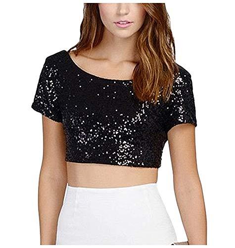keland Camiseta sexy con lentejuelas para mujer, sin espalda, cuello en V, sin mangas, camiseta de lentejuelas