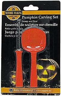 R&M International 3289 Halloween Juego de 2 piezas para tallar calabazas con pala y herramientas de sierra, Anaranjado, Set de 2 piezas, 1