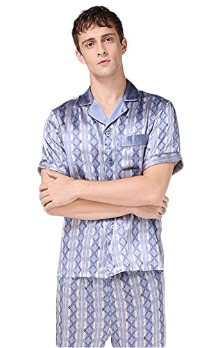 Schlafanzug Set Pure Morgenmantel Mustern Bedrucken Nachthemd Blau L