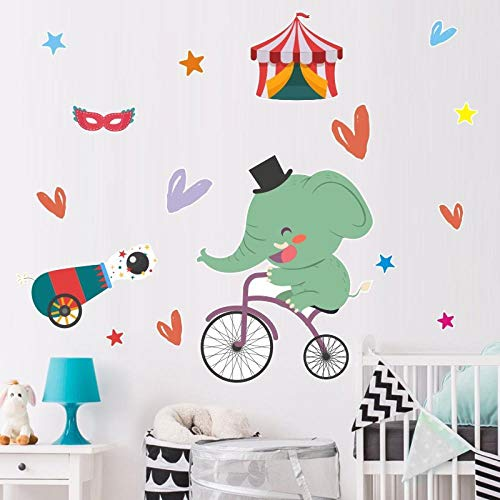 Cartoon Baby Elephant Riding Bike Wall Stickers Cute Animal Art Wall Decals for Kids Rooms Bedroom Living Room Home Decor