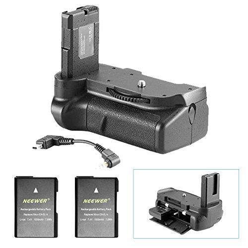 Neewer Pro - Battery grip funziona con batterie EN-EL14 + 2 pezzi di ricambio EN-EL14 batteria 7.4 V 1050 mAh per Nikon D5100 5200 D5300 DSLR