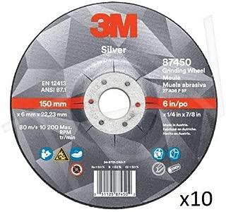 3M Silver Grinding Wheel AB87453, 4-1/2 in x 1/4 in x 7/8 in, Type 27 - Total 10 Wheels
