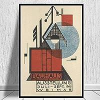 7×5ftキャンバスペインティング不織布キャンバスプリントバウハウスオーステルング1923ヴァイマー展覧会は背景として使用できます壁抽象芸術作品装飾画リビングルーム壁の装飾キャンバス