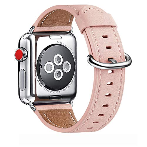 WFEAGL Correa para Correa Apple Watch 42mm 44mm 38mm 40mm, Correa de Repuesto de Cuero Multicolor para iWatch Serie 5/4/3/2/1(38mm 40mm,Rosa/Plata)