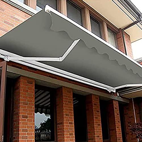 Tenda da sole retrattile manuale per porta finestra Tendalino parasole da giardino Tendalino parasole per gazebo Deck Yard, tenda da sole pieghevole anti-UV e impermeabile grigia,Grigio,3M*1.5M