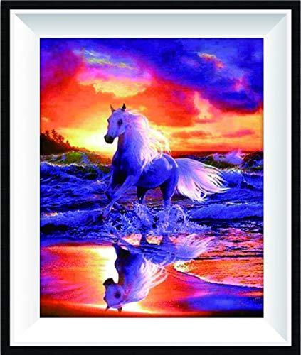 Taladro AB bordado completo 5D DIY diamante pintura punto de cruz atardecer caballo redondo diamante hecho a mano cepillo decorativo@50x60cm