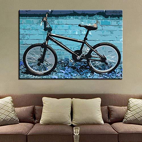 wZUN Bild Moderne Art der Hauptdekoration Fahrradmalerei Kunstplakatdruck auf Leinwand für Wohnzimmer 60x90cm Rahmenlos