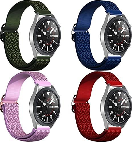 Gransho Repuesto de Correa de Reloj de Silicona Compatible con Galaxy Watch 4 44mm / Watch 4 Classic 46mm, Caucho Fácil de Abrochar para Relojes y Smartwatch (22mm, 4-Pack H)