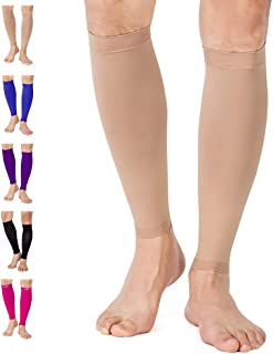 TOFLY Calf Compression Sleeve, 1 Pair - Multiple Colors for Men Women, Leg Compression Socks 20-30mmHg for Shin Splint, Relieve Calf Pain, Swelling, Varicose Veins - Maternity, Running, Travel