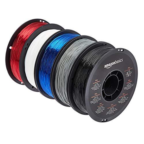 Amazon Basics - Filamento per stampanti 3D, in poliuretano termoplastico (TPU), 1,75mm, 5 colori assortiti, 1 kg per bobina