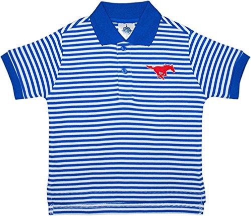 Southern Methodist University SMU Mustangs Striped Polo Shirt by Creative Knitwear, Royal/White, 4T