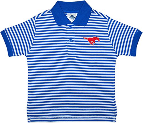Southern Methodist University SMU Mustangs Striped Polo Shirt by Creative Knitwear, Royal/White, 4T