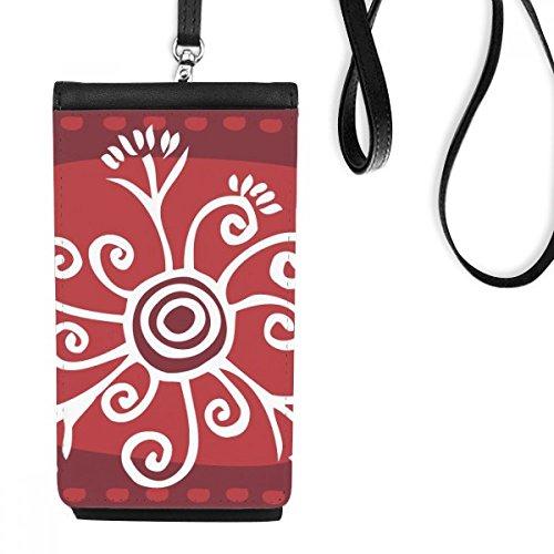 DIYthinker rode wijn kleur bloemen Mexico Totems oude beschaving tekenen van kunstleer Smartphone opknoping portemonnee zwart telefoon portemonnee cadeau