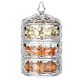 3-tercero Cristal Cubierto Sugar Bowl,Caja De Joyas Contenedor De Almacenamiento Para La Cocina Boda Buffet,Grande Decorativo Plato De Galletas,Vidrio Bombonera Con Tapa-Vidrio 13x22.8cm(5x9inch)