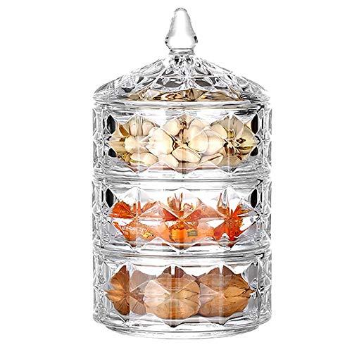 3-tercero Cristal Cubierto Sugar Bowl,Caja De Joyas Contenedor De Almacenamiento Para La...