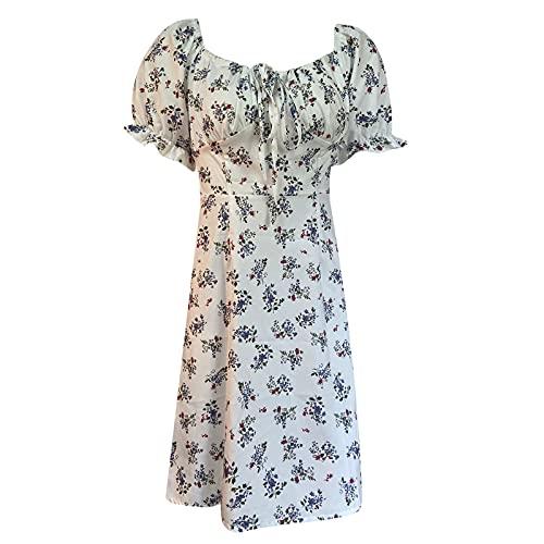 Bloemenjurk voor dames, swing, mini-jurk, kort, plissé, strandjurk, pofmouwen, vrijetijdsjurk, tieners, vintage zomerjurk