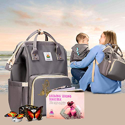 Lazy Monk Baby Diaper Bag Backpack for Mom & Girls   Best Modern Small Baby Travel Bag Tote w/Organizer Pouch   Stylish Toddler Bags for Dad & Boys Unisex