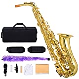 Costzon Alto Saxophone, E-Flat Gold Lacquer Finish, High F Key, Full Set Accessories with Carry Case, Neck Straps, Mouthpiece, Cork Grease, Reed, Cleaning Cloth Rod, Gloves for Beginner Student