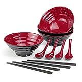 4 Set (12 Pezzi) Ciotole per Ramen, Capacità 1032 ml Ciotola per Zuppa Giapponese con Cucchiaio e Bacchette, Applica a Pasta Asiatici Ramen, Lavabile in Lavastoviglie (Rosso, 4 PCS)