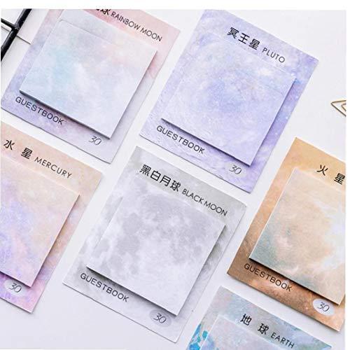 Romote 1xMoon Kawaii Planeten kreative Notizblock Sticky Notes Memo Notebook Briefpapier Hinweis Papieraufkleber Büro Schulbedarf