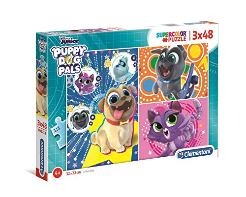 Clementoni - 25247 - Supercolor Puzzle - Puppy Dog Pals - 3 X 48 Pezzi - Made In Italy - Puzzle Bambini 4 Anni +