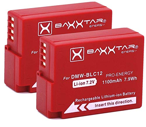 2X Baxxtar Pro (1100mAh) - Ersatz für Akku Panasonic DMW BLC12 E intelligenter Akku - Lumix DC FZ1000 II G91 DMC GX8 G70 G81 G7 G6 G5 FZ2000 FZ1000 FZ200 FZ300