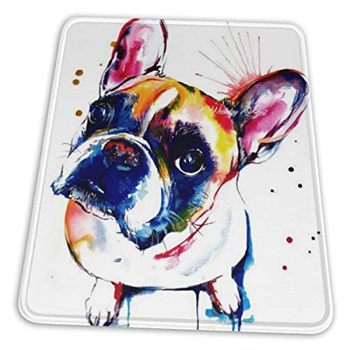 Gaming Mouse Pad - Painted French Bulldog Rectangle Rubber Mousepad - 7 X 8.6 in X 0.12''(3mm Thick) Mouse Mat for Gift Support Wired Wireless Or Bluetooth Mouse