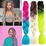 MayShow 6 Packs Jumbo Box Braids Hair for Women Kanekalon high temperature synthetic Jumbo Braiding Hair 100g/Pcs 24Inch