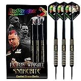 RED DRAGON Peter Wright Snakebite 22g Brass Darts mit Flights und Schäfte