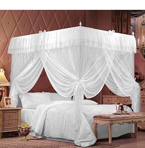 IFELES 4 Corners Bedding Curtain Canopy Netting Twin Full Queen King (Full/Queen)