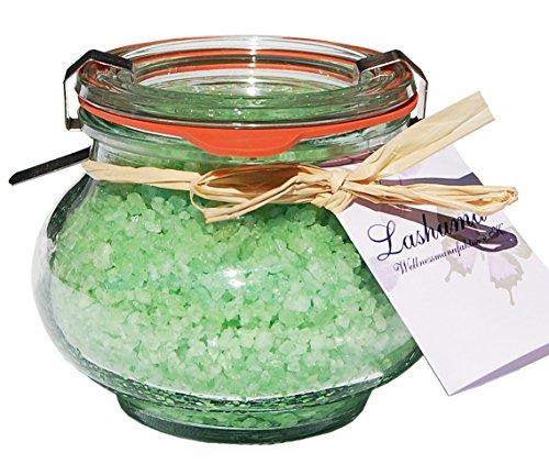Lashuma Entspannungs Badesalz, Badekristalle Duft Grüner Tee im Weck Schmuckglas 250 g, Totes Meer Badezusatz