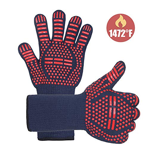 FELIMAI Grilling Gloves, Heat Resistant Gloves for Grill, Cooking, Baking and Smoker. 1472 F° Extreme Heat Resistant Oven Gloves with EN407 Certified, Fireproof, Oil Resistant, 1 Pair (13 Inch)