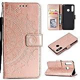 CoverKingz Handyhülle für Huawei P30 Lite - Handytasche mit Kartenfach P30 Lite Cover - Handy Hülle klappbar Motiv Mandala Rosegold