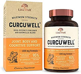 CurcuWell - Curcumin and Boswellia Blend | Maximum Strength Joint, Body and Cognitive Support - 30 Day Supply