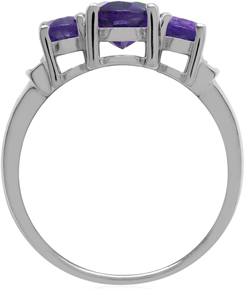 3-Stone Natural African Amethyst /& White Topaz 925 Sterling Silver Ring 1.97ct