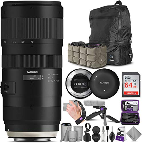 Tamron SP 70-200mm f/2.8 Di VC USD G2 Lens for Canon EF Cameras + Tamron Tap-in Console with Altura Photo Advanced Accessory and Travel Bundle