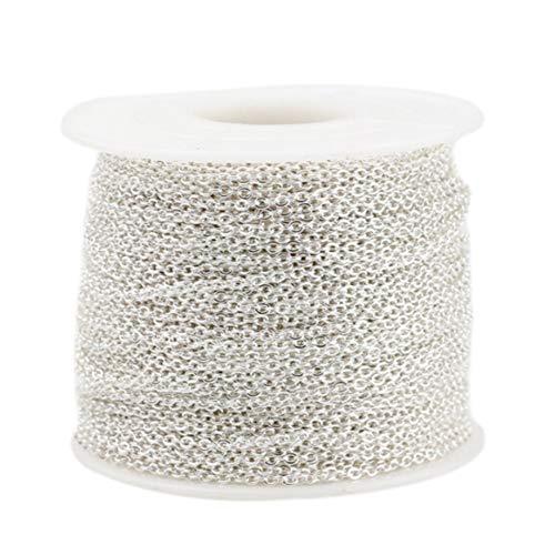 Asudaro 10 Meter Edelstahl Kabel Kette Metallkette Gliederkette Kabelkette Link Kette für Schmuck Herstellung Silber- 1mm