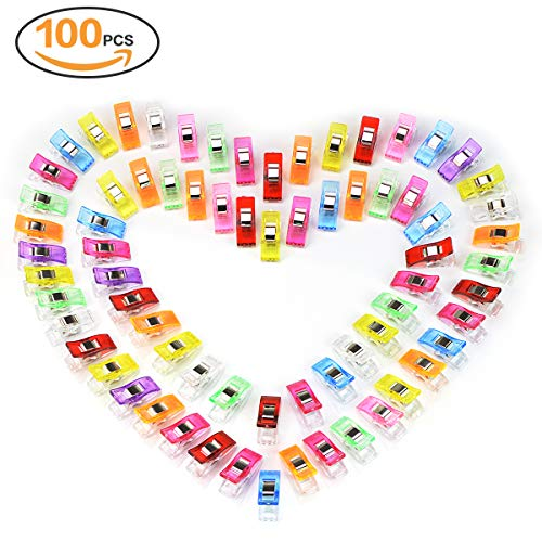 100 Stück Stoffklammern Näh klammern 2.7X1X1.5 CM Perfekt für Nähen,Diverse Helle Farben