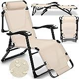 tillvex Sonnenliege klappbar mit Kopfkissen und Massagefunktion | Gartenliege verstellbar mit Stahlrahmen | Liegestuhl mit Verstellbarer Rückenlehne und Armlehnen (Beige)