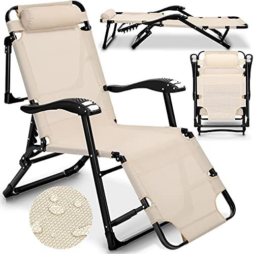 tillvex Sonnenliege klappbar mit Kopfkissen und Massagefunktion   Gartenliege verstellbar mit Stahlrahmen   Liegestuhl mit Verstellbarer Rückenlehne und Armlehnen (Beige)