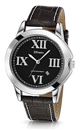 F.Steen Altitude-FS2C1 - Reloj analógico de cuarzo japonés con correa de piel auténtica, estilo moderno, color plateado