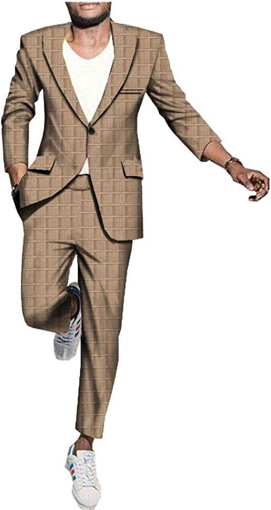 private afripride Mens Business Suit African Print Clothing Dashiki Jacket Coats+Long Pants Set Formal Outfit