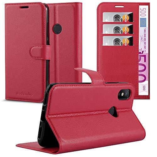 Cadorabo Hülle für Xiaomi Mi A2 / 6X in Karmin ROT - Handyhülle mit Magnetverschluss, Standfunktion & Kartenfach - Hülle Cover Schutzhülle Etui Tasche Book Klapp Style
