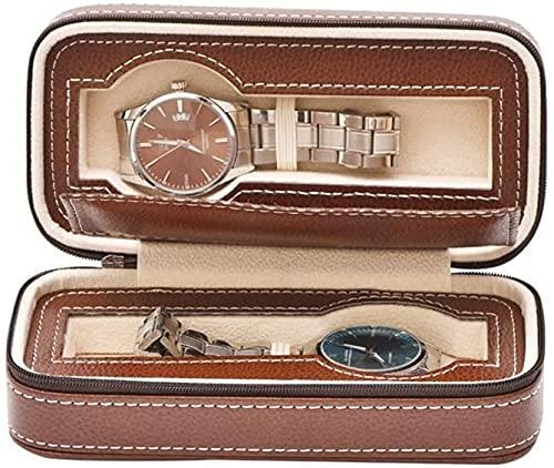 NYZXH Relojes Box Watch Box Watch Display Caja de exhibición Reloj de Cuero Caja de Viaje con Cremallera Organizador de Almacenamiento Acolchado Vitrina 2 Ranura Marrón Reloj Organizador Regalo/Marr